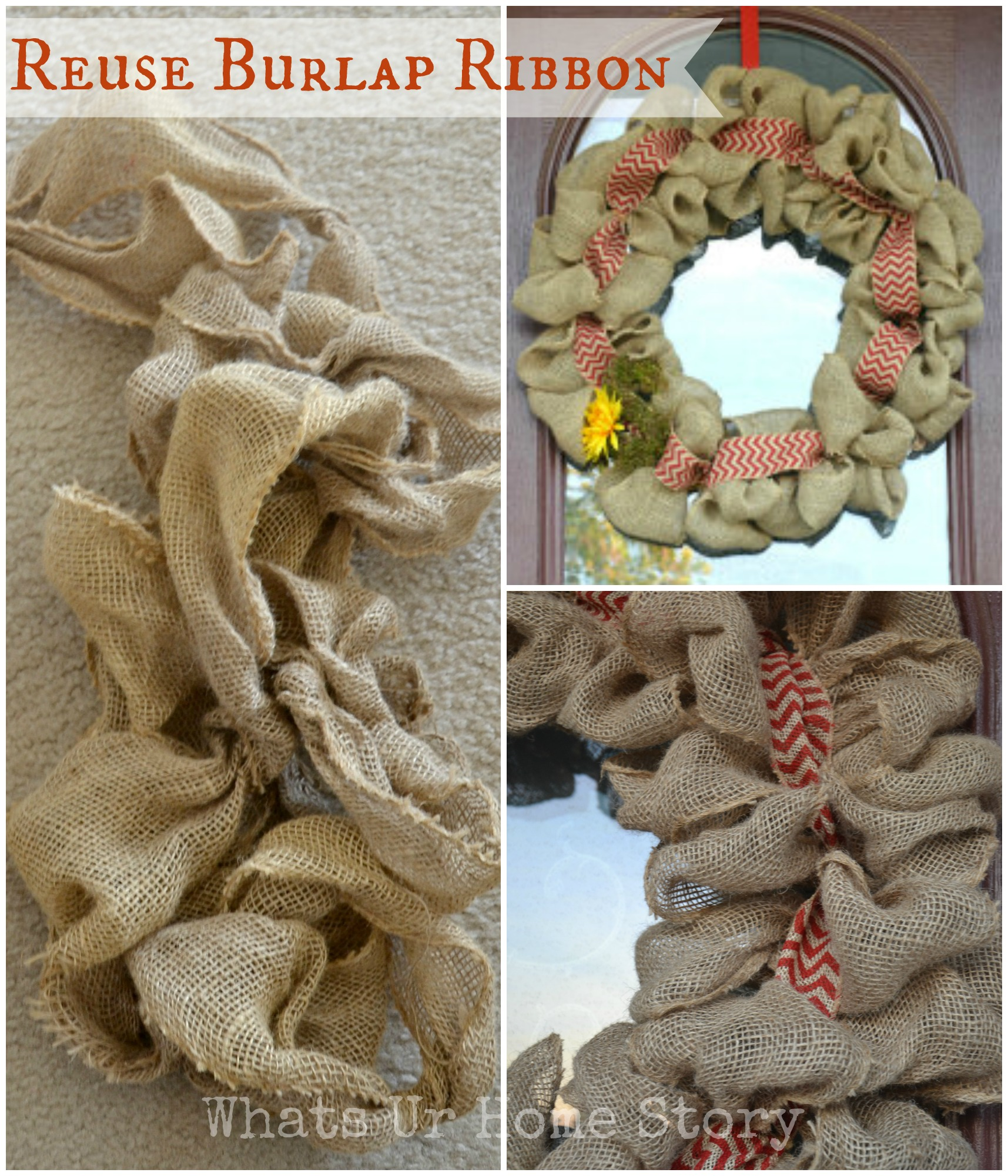 How to reuse burlap ribbon whats ur home story for How to use burlap ribbon