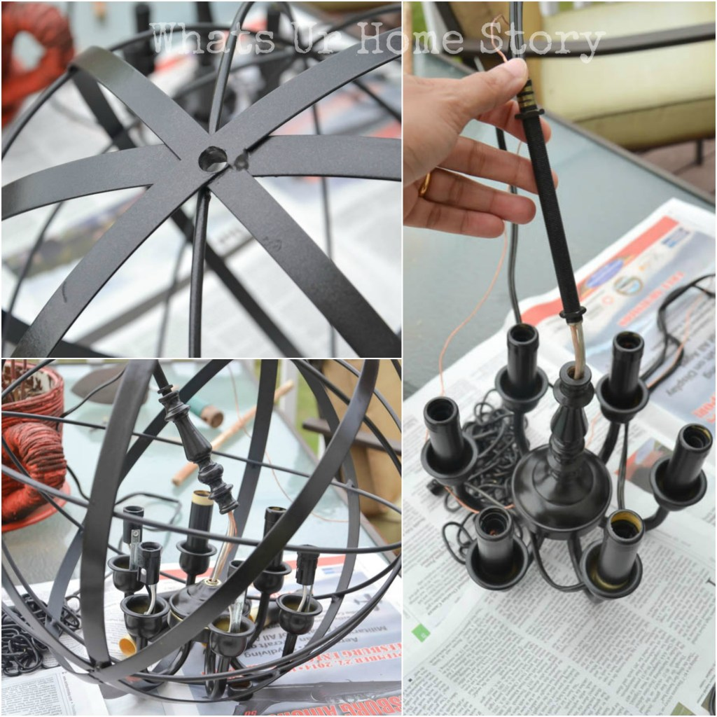 Diy Orb Chandelier Whats Ur Home Story Wiring Pot Lights A Tutorial Kinda Mom And Her Drill