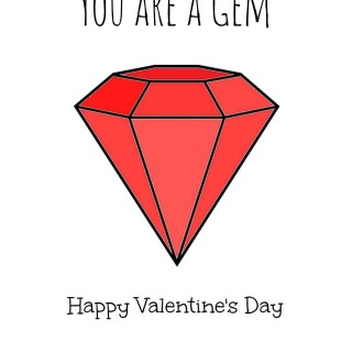 you are a gem valentines card printable red