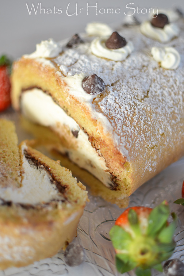 Chocolate and Caramel Cream Cake Roll