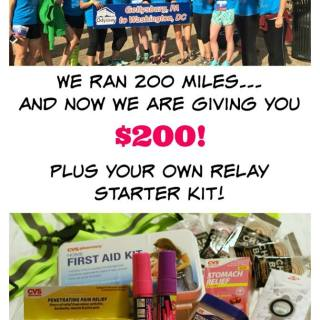 Cash giveaway plus a relay starter kit