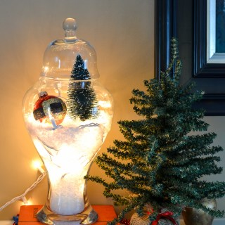 Christmas Apothecary Jars are great on a mantel