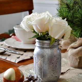 Neutral holiday tablescape with washi tape accents and diy mercury glass mason jar vases