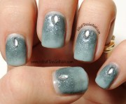 winter gel nail design with jewels