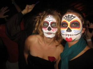 Rachel and another sugar-skull-masked partyer at The Middle East.