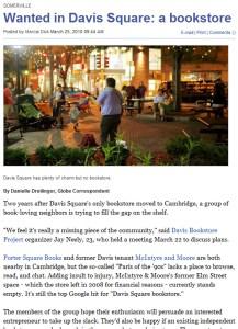 Boston Globe Davis Bookstore Article