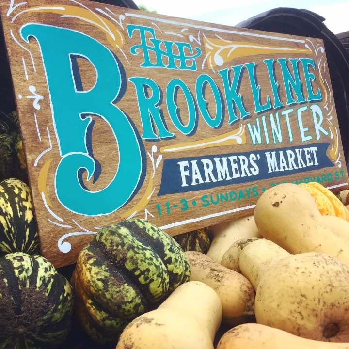 Brookline Winter Farmers Market sign
