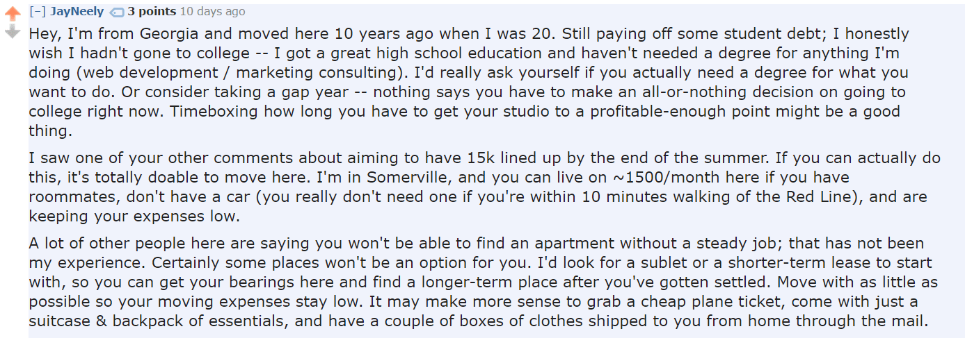 Moving On Your Own Advice