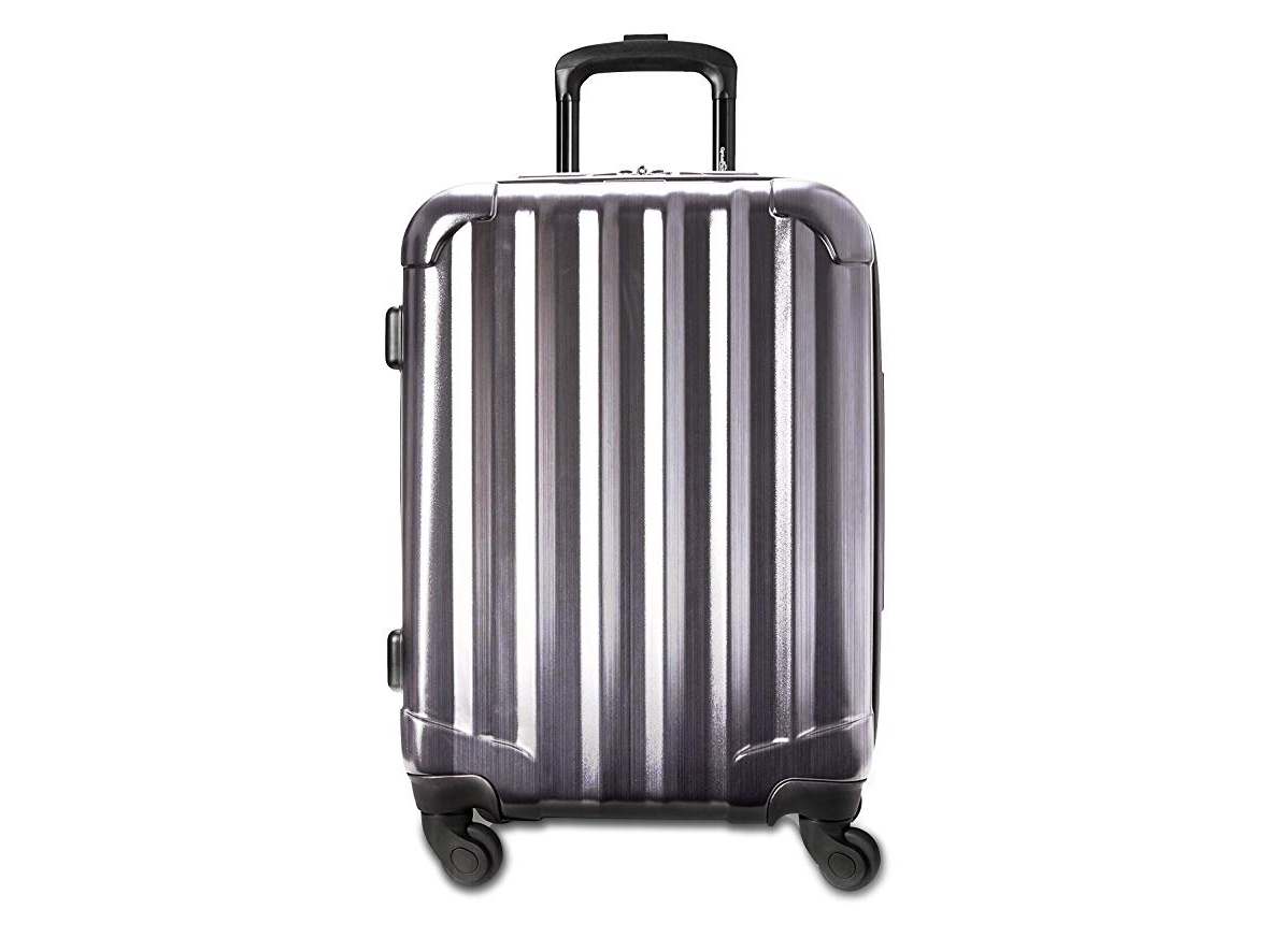 """Genius Pack 21"""" Aerial Hardside Carry On Luggage Spinner - Smart, Organized, Lightweight Suitcase (Brushed Chrome)"""