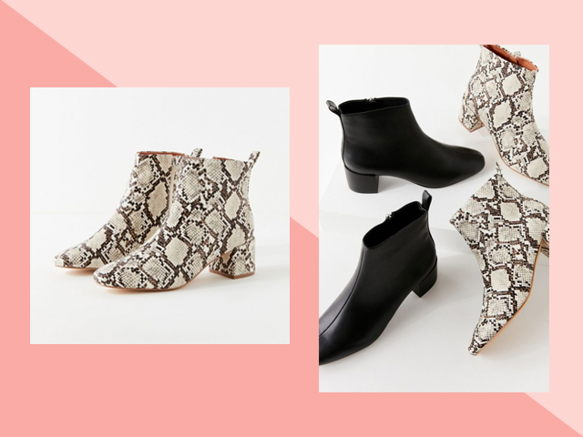 Travel Heels Urban Outfitters Black Snake Skin UO Mod Boots