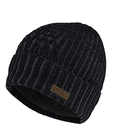 Black skull cap hat with lining