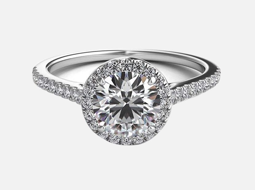 Lemon Grass 1.22 Ct Halo Set Solitaire Cubic Zirconia Promise Engagement Ring.