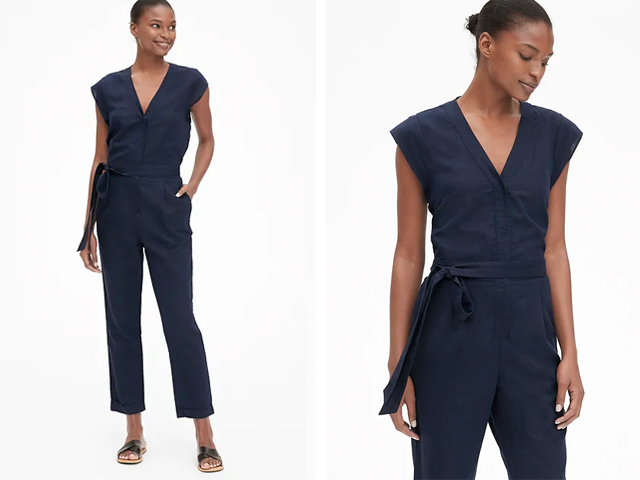 Gap Cap Sleeve V-Neck Jumpsuit in Linen