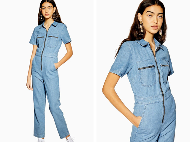 Short Sleeve Denim Boiler Suit Topshop