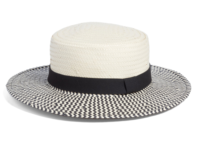 Two-Color Boater Hat SOMETHING NAVY