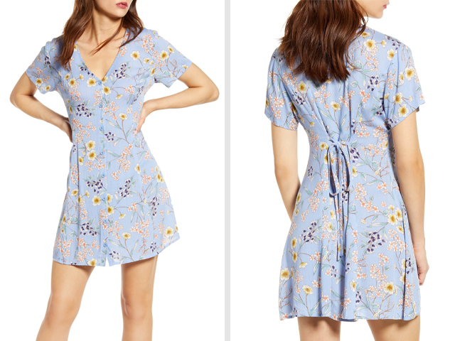 Button Up Tie Back Minidress ALL IN FAVOR.