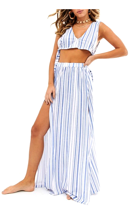 ASOS DESIGN jersey beach maxi skirt and crop top in stripe two-piece.