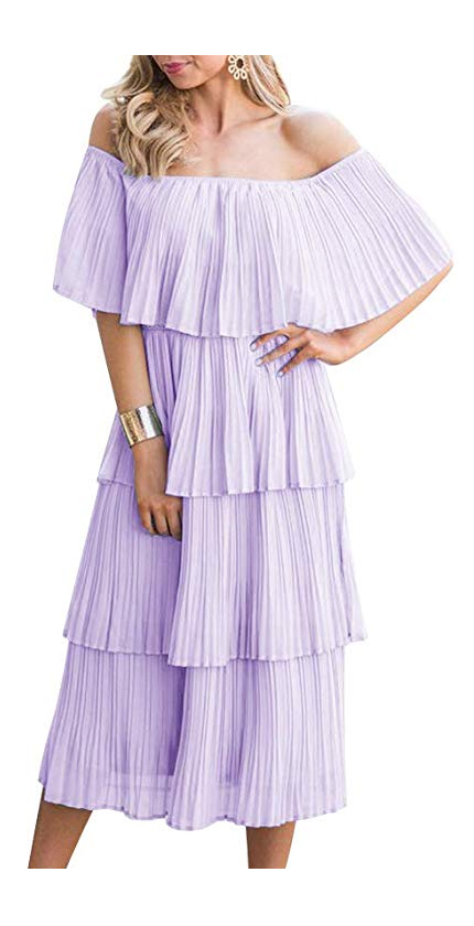 ETCYY NEW Women's Off The Shoulder Sleeveless Tiered Ruffle Pleated Casual Midi Dress.