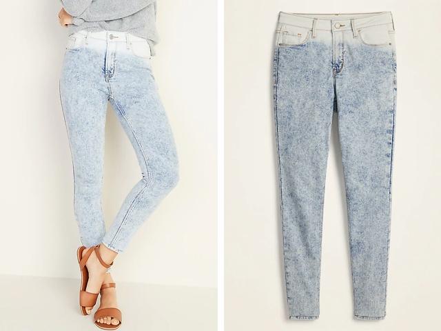 Old Navy High-Rise Secret-Slim Pockets Dip-Dye Rockstar Jeans for Women.