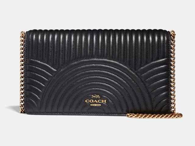 Coach Callie Foldover Chain Clutch With Deco Quilting.