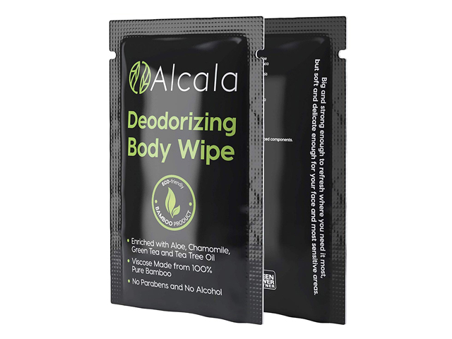 Deodorizing Body Wipes 100% Pure Bamboo with Tea Tree Oil.