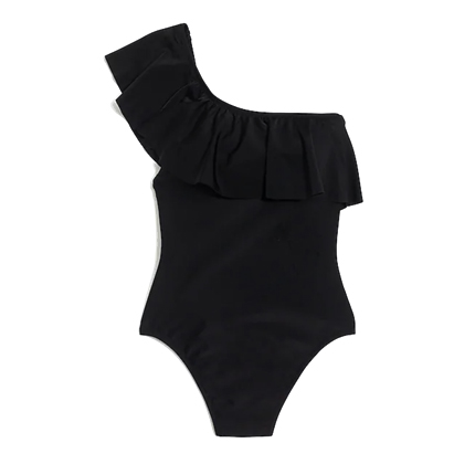 J.Crew Factory Ruffle one-shoulder one-piece swimsuit.