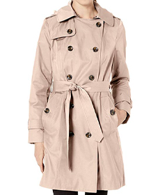 """London Fog Women's 36"""" Length Double-Breasted Trench Coat with Belt."""