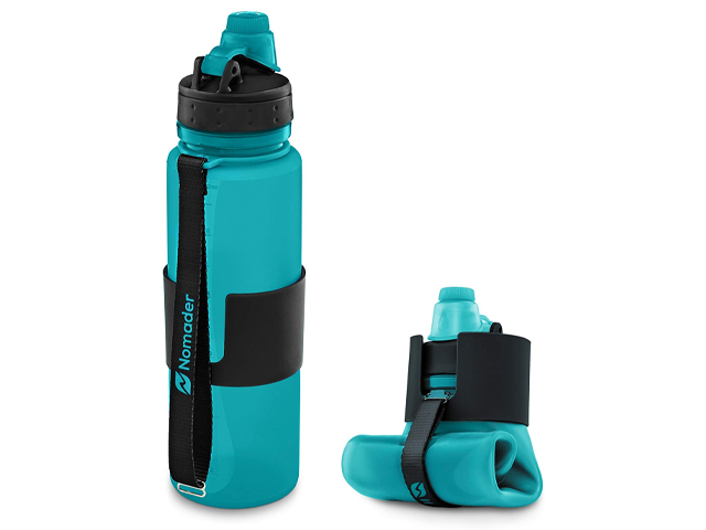 Nomader BPA Free Collapsible Sports Water Bottle.