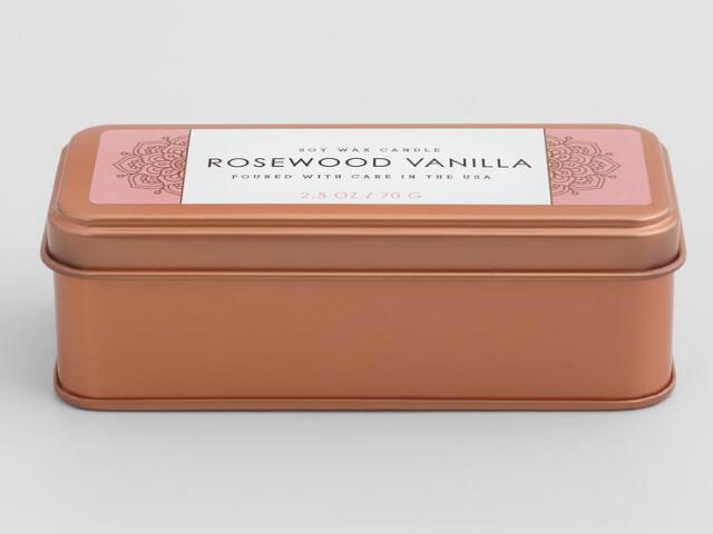 Rosewood Vanilla Copper Tin Travel Candle.
