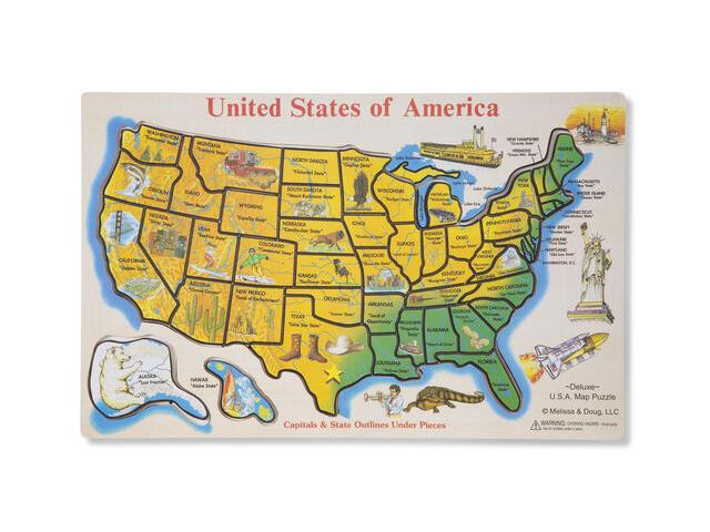 Melissa & Doug Wooden USA Map Puzzle.