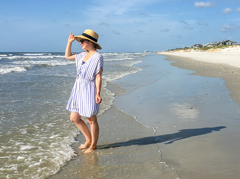 Anne Wearing a Rent the Runway cover-up at the beach.