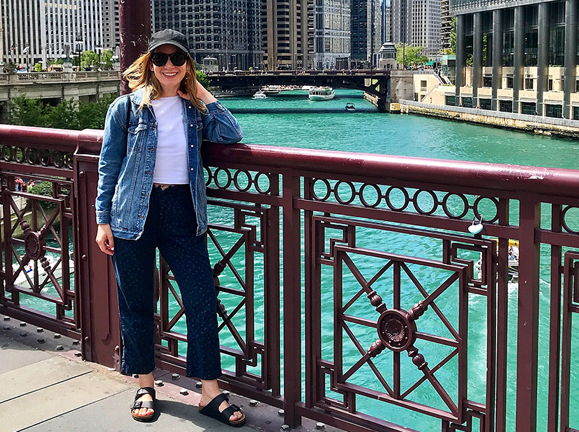 Anne wearing Rent the Runway pants on a trip to Chicago.