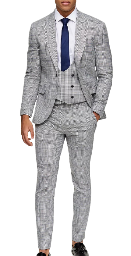 3 Piece Grey Check Skinny Fit Suit With Peak Lapels.