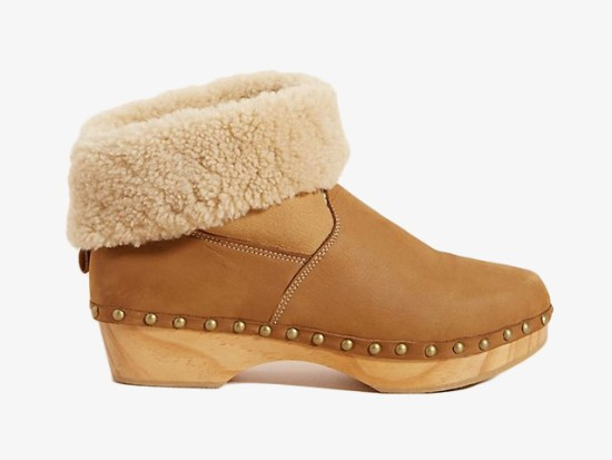 Penelope Chilvers Shearling-Lined Clog Boots.
