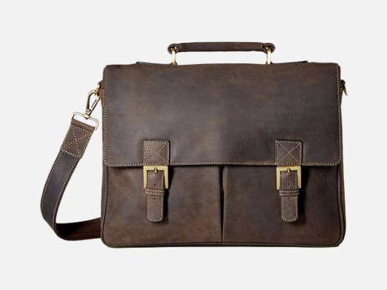 Visconti Berlin Leather Twin Buckle Briefcase with Detachable Strap.