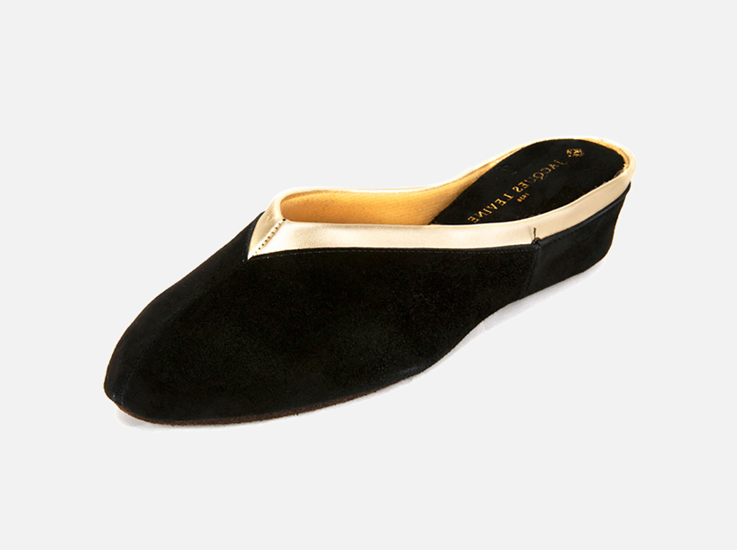 Jacques Levine Suede Wedge Mule Slippers.
