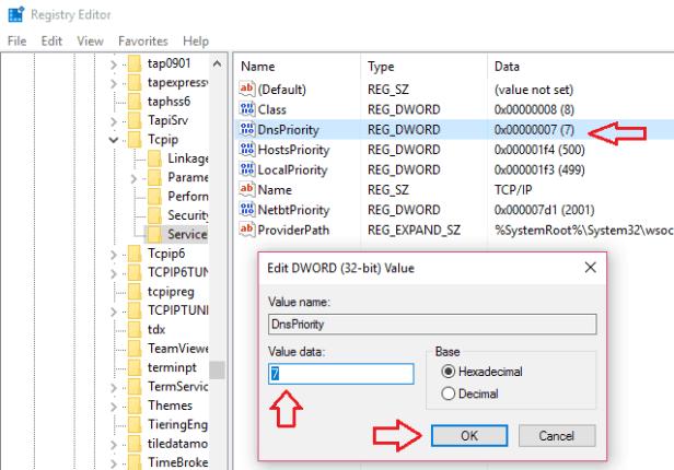 speedup internet using registry editor