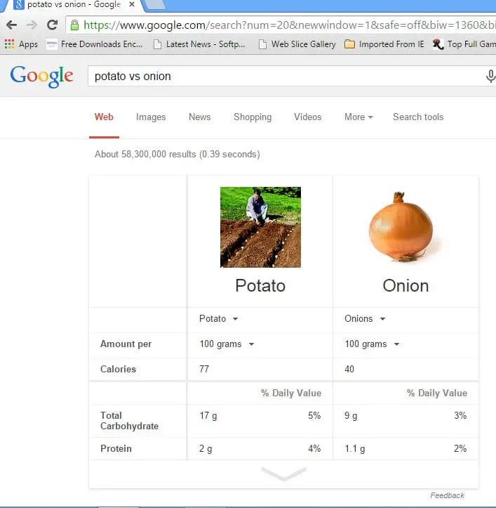 potato vs onion google tips and tricks
