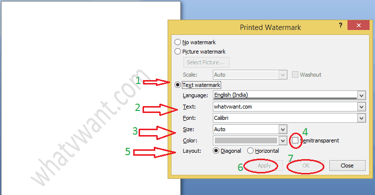 text watermark in word