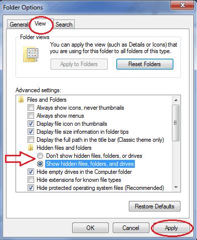 windows 7 show hidden files