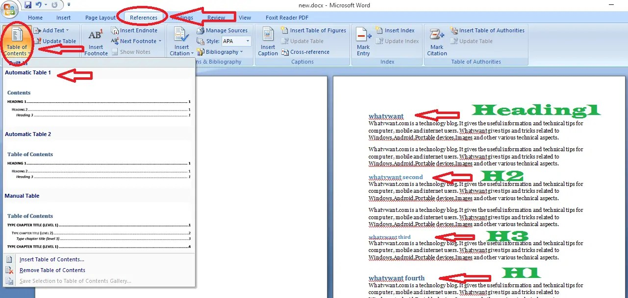 create table of contents in word