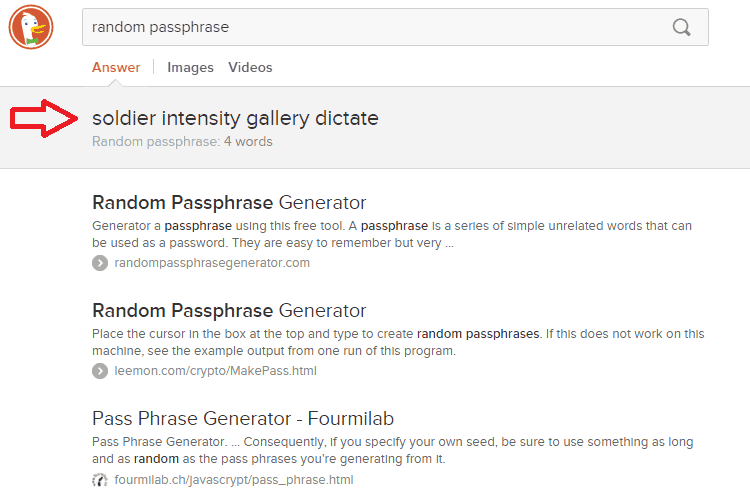 new search engines duckduckgo passphrase