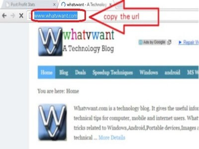 Copy the URL in address bar of the browser- How to create a website shortcut on desktop