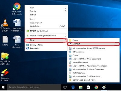 click on new folder option. Find and click on shortcut- How to create a website shortcut on desktop