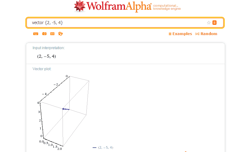 college algebra help solve vectors using wolfram alpha