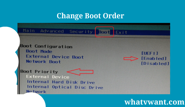 changing boot order