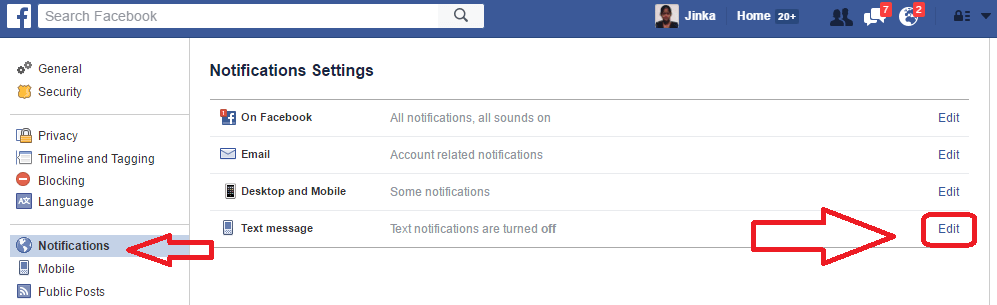 facebook text message notifications
