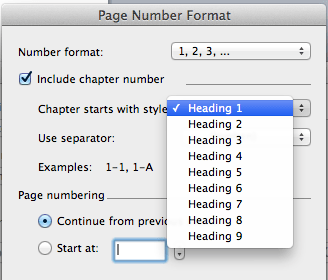 Add number format to word document on Mac