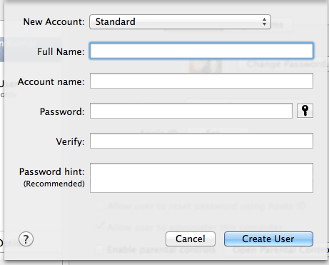 create new user account on mac