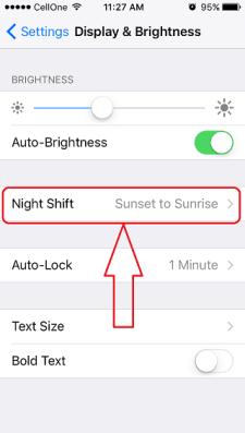 iOS night mode